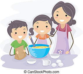 Family Baking - Illustration of Family Baking Pastries...