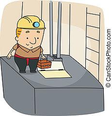 Elevator Mechanic - Illustration of an Elevator Mechanic at...