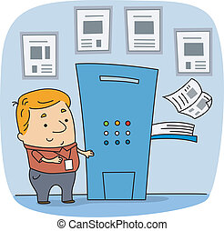 Press Worker - Illustration of a Press Worker at Work
