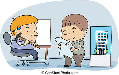 Architects - Illustration of Architects at Work
