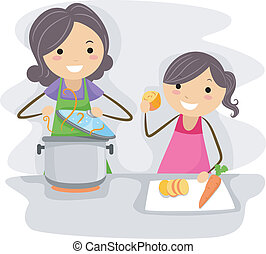 Family Cook - Illustration of a Mother and Daughter Cooking...