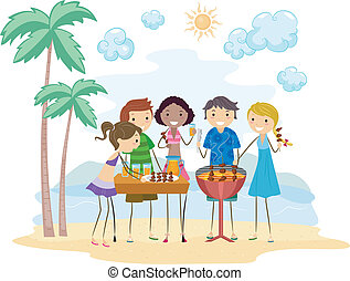 Barbecue Party - Illustration of Friends Having a Barbecue...