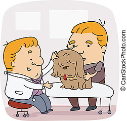 Veterinarian - Illustration of a Veterinarian at Work