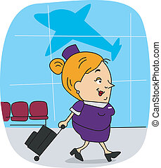 Flight Attendant - Illustration of a Flight Attendant at...
