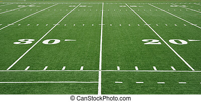 Twenty and Thirty Yard Line on American Football Field - 20...