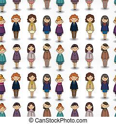 cartoon pretty office woman worker seamless pattern