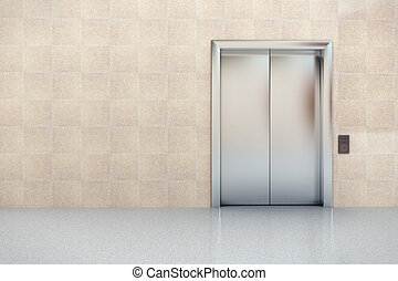 Elevator in lobby - Interior view of business lobby with...