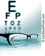 eye test - glasses on the background of eye test chart
