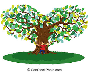 Tree Hug - Tree and child hugging and showing symbol of love...