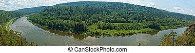 siberian taiga - panoramic view of siberian taiga landscape...