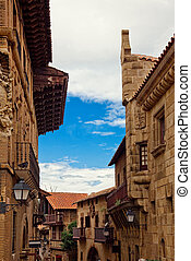 spanish street - Poble Espanyol(traditional architectural...