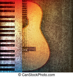 abstract grunge background with piano and guitar - abstract...