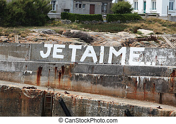 I Love You Graffity - a graffity on a wall in Brittany,...