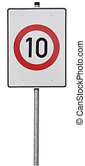 Sign, speed limit - Sign with speed limit 10km