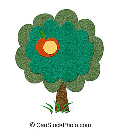 Felt summer apple tree - Felt apple tree with one apple....