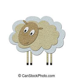 Little lamb - Little felt lamb over white. Handmade style...