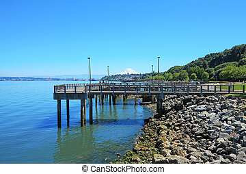 Tacoma, pier waterfront Ruston Way - Tacoma, summer...