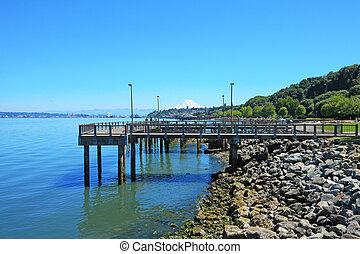 Tacoma, muelle, puerto, Ruston, manera