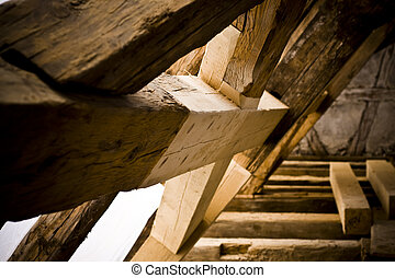 carpenters work at an historic building. Fixed wooden...