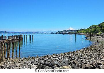 Tacoma, pier waterfront. Ruston Way. - Tacoma, summer....