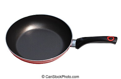 Red pan with handle on white background
