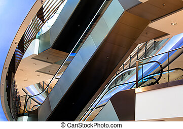 Escalator In A Modern Multilevel Shopping Mall - escalator...