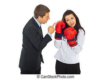 Angry boss argue employee woman