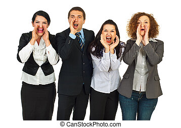 Business people group  shouting