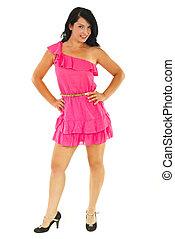 Beautiful  model woman in  pink dress