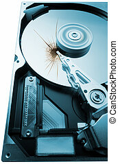 broken hard disk on white background - broken hard disk...