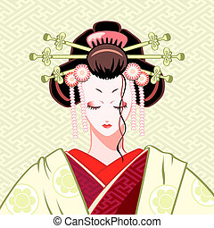 Shy geisha portrait in green-red colors