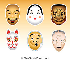 Japan Noh and Kyogen masks | Set 1 - Traditional japanese...