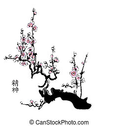 Sakura blossom - Sakura painting in chinese watercolor style