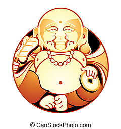 Happiness God - Hotei is one of Seven Lucky Japan Gods - God...