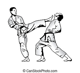 Karate fight - Karate kick and defense fighter silhouettes