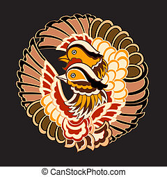 Japanese birds pattern - Traditional japanese kimono pattern...