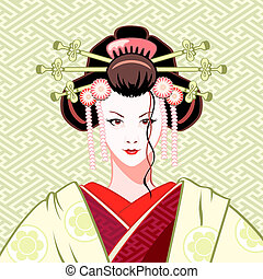 Geisha modern - Modern attractive geisha portrait in...