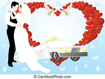 Wedding Card - Newlyweds on a background of abstract images...