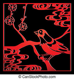 Papercut bird - Papercut frame with bird and flowers in...