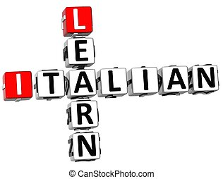 3D Learn Italian Crossword on white background
