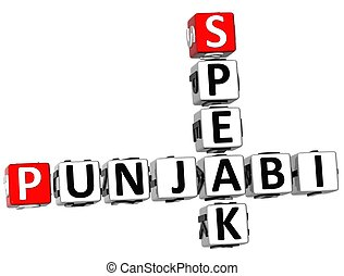 3D Speak Punjabi Crosswrod on white background