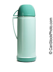 Green thermos flask - Green plastic thermos flask with cup...