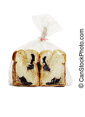 Chocolate loaded bread in plastic bag