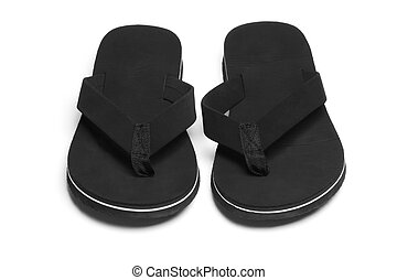 Black flip flops - Pair of black flip flops casual footwear...