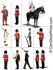 Big set of the few kinds guards Vector illustration