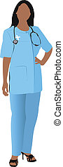 Nurse woman with white doctor`s smock Vector illustration