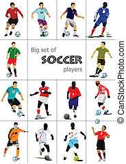 Big set of soccer players. Colored
