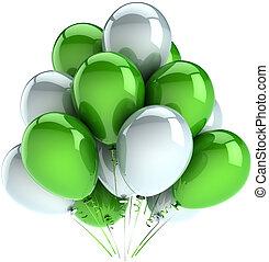 grupo, Partido, balões, verde, branca
