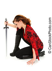 Teen Girl with Sword over White Background with Clipping...