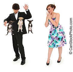 Teen Boy Magic Show with Floating Puppies - Teen boy...